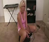 Blondie bent over in POV