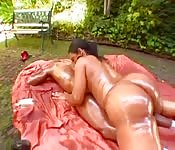 Brazilian gets oiled up and is eager to fuck
