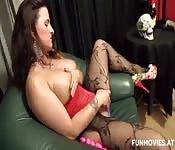 Tight slut in red lingerie