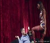 Ebony shemale lap dancer anal fucks guy