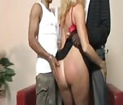 Blonde MILF meets young black studs
