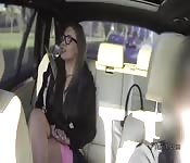 Brunette flashes pussy in fake taxi