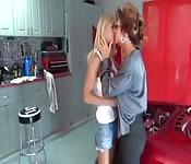 Hot blonde milf licks pussy