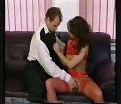 European woman uses body to give pleasure