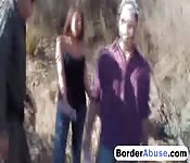 Brunette babe is caught by borderpatrol