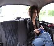 Long legged ebony bangs big cock in cab