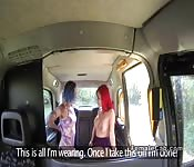 Blue and red haired lesbians in fake cab