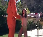 Prisoner whips gf and her bff outdoor