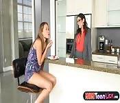 Lesbian stepmom blackmails teen hottie