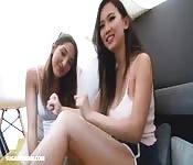 Teen girls have their first lesbian sex