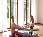 Hot yoga class end with hardcore sex