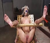With head in plastic slave tormented