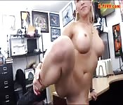Busty stripper pawns her twat and boned