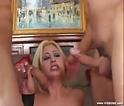 Babe gives blowjob and is DPed