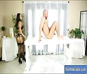 Pretty masseuse in stockings blowjobs