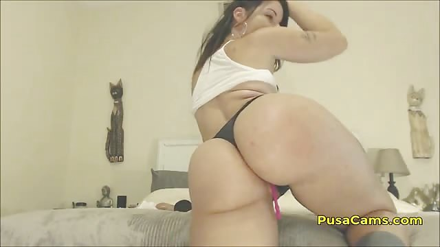 Big Ass Brunette Riding Dildo
