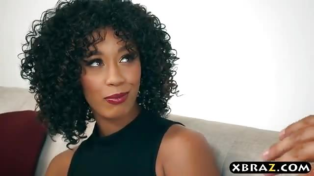 Black dime Misty Stone giving large cock oral sex before intercourse on couch № 614913 загрузить